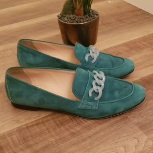 """J crew """"charlie"""" suede /Lucite loafers"""